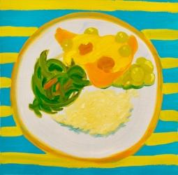 """Chicken Dinner, oil on paper,"