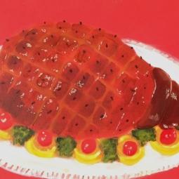 """""""Glazed Ham,"""" oil on paper, 2012"""