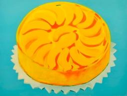 """Peach Upside Down Cake,"" oil on panel, 2012"
