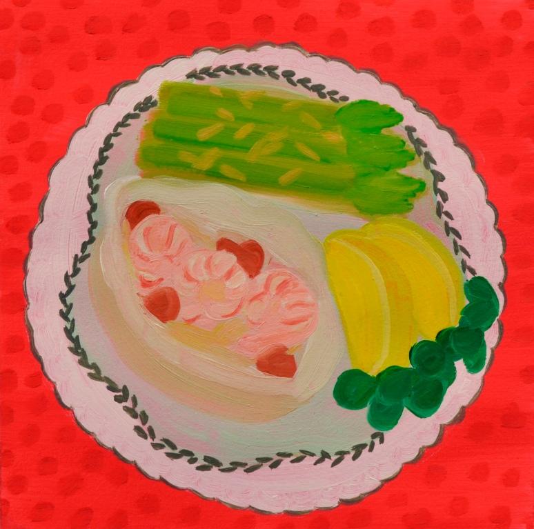 """""""Shrimp,"""" oil on paper, 2013"""