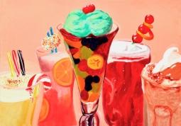 """""""Dessert Drinks,"""" oil on paper, 2012"""