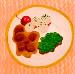 """Veal Medallions,"" oil on paper, 2013"