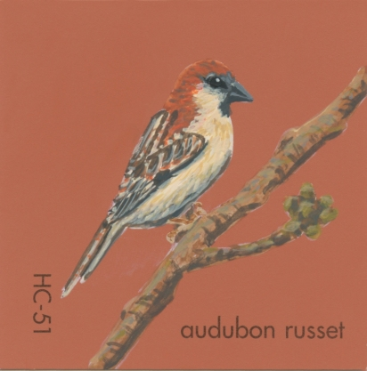 """""""Audubon Russet,"""" acrylic on commercial paint chip, 2x2in, 2017"""