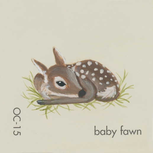 """""""Baby Fawn,"""" acrylic on commercial paint chip, 2x2in, 2017"""