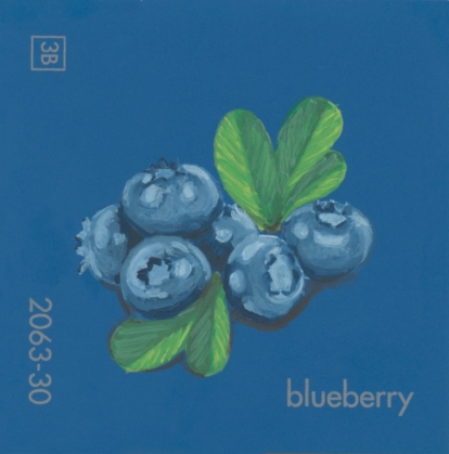 """""""Blueberry II,"""" acrylic on commercial paint chip, 2x2in, 2017"""