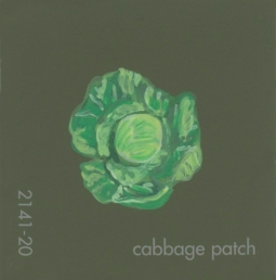 """""""Cabbage Patch,"""" acrylic on commercial paint chip, 2 x 2in, 2017"""