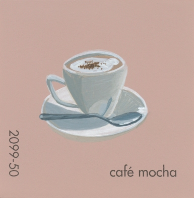 """""""Cafe Mocha,"""" acrylic on commercial paint chip, 2x2in, 2017"""
