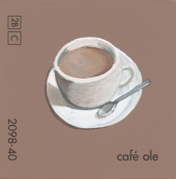 """""""Cafe Ole,"""" acrylic on commercial paint chip, 2x2in, 2017"""