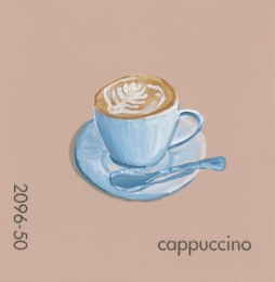 """""""Cappuccino,"""" acrylic on commercial paint chip, 2x2in, 2017"""
