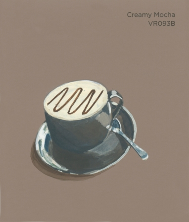 """""""Creamy Mocha,"""" acrylic on commercial paint chip, 3x3.5in, 2017"""