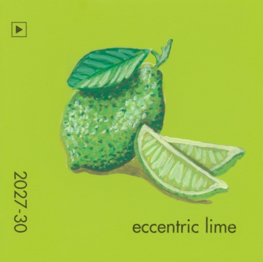 """""""Eccentric Lime,"""" acrylic on commercial paint chip, 2x2in, 2017"""