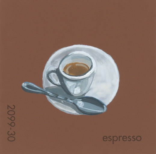 """""""Espresso,"""" acrylic on commercial paint chip, 2x2in, 2017"""