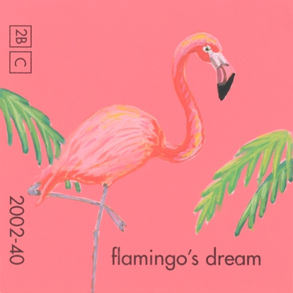 """""""Flamingo's Dream,"""" acrylic on commercial paint chip, 2x2in, 2017"""