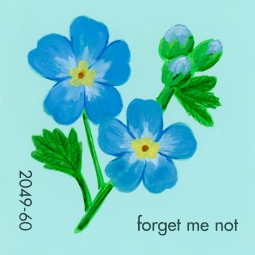 """Forget Me Not,"" acrylic on commercial paint chip, 2x2in, 2017"