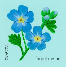 """""""Forget Me Not,"""" acrylic on commercial paint chip, 2x2in, 2017"""