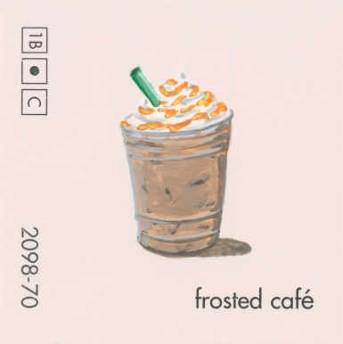 """""""Frosted Cafe,"""" acrylic on commercial paint chip, 2x2in, 2017"""