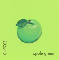 """""""Apple Green,"""" acrylic on commercial paint chip, 2 x 2in, 2017"""