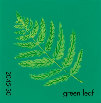 """""""Green Leaf,"""" acrylic on commercial paint chip, 2x2in, 2017"""