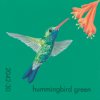 """""""Hummingbird Green,"""" acrylic on commercial paint chip, 2x2in, 2017"""