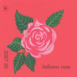"""""""Italiano Rose,"""" acrylic on commercial paint chip, 2 x 2in, 2017"""