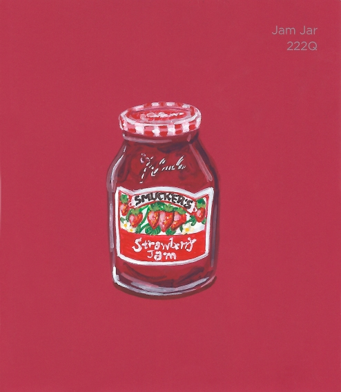 """""""Jam Jar,"""" acrylic on commercial paint chip, 3x3.5in, 2017"""