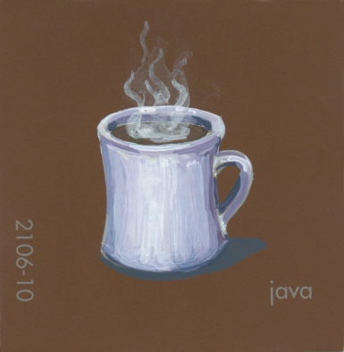 """""""Java,"""" acrylic on commercial pant chip, 2x2in, 2017"""