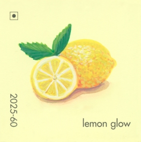 """""""Lemon Glow,"""" acrylic on commercial paint chip, 2x2in, 2017"""