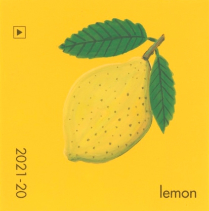 """""""Lemon,"""" acrylic on commercial paint chip, 2 x 2in, 2017"""
