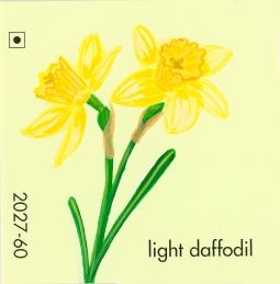 """""""Light Daffodil,"""" acrylic on commercial paint chip, 2x2in, 2017"""