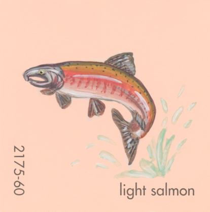 """""""Light Salmon,"""" acrylic on commercial paint chip, 2x2in, 2017"""