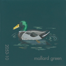 """Mallard Green,"" acrylic on commercial paint chip, 2x2in, 2017"