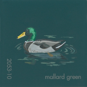 """""""Mallard Green,"""" acrylic on commercial paint chip, 2x2in, 2017"""