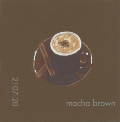 """""""Mocha Brown,"""" acrylic on commercial paint chip, 2x2in, 2017"""