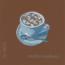 """""""Mocha Madness,"""" acrylic on commercial paint chip, 2x2in, 2017"""
