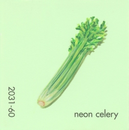 """""""Neon Celery,"""" acrylic on commercial paint chip, 2x2in, 2017"""