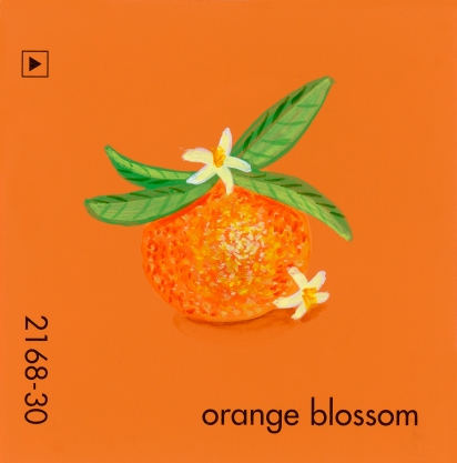 """""""Orange Blossom,"""" acrylic on commercial paint chip, 2x2in, 2017"""
