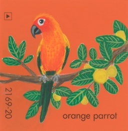 """Orange Parrot,"" acrylic on commercial paint chip, 2x2in, 2017"