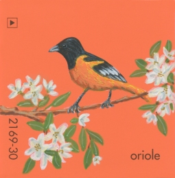 """Oriole,"" acrylic on commercial paint chip, 2x2in, 2017"