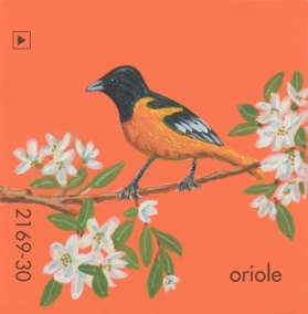 """""""Oriole,"""" acrylic on commercial paint chip, 2x2in, 2017"""