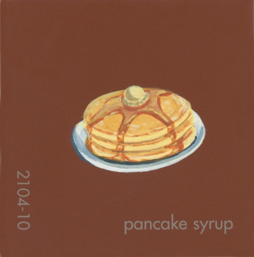 """""""Pancake Syrup,"""" acrylic on commercial paint chip, 2x2in, 2017"""