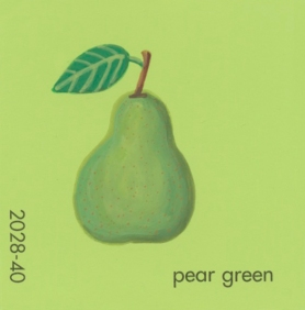 """""""Pear Green,"""" acrylic on commercial paint chip, 2 x 2in, 2017"""