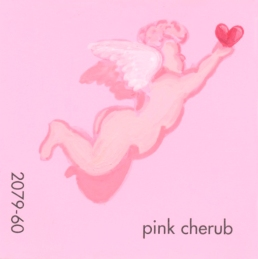 """""""Pink Cherub,"""" acrylic on commercial paint chip, 2 x 2in, 2017"""