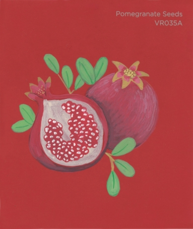 """""""Pomegranate Seeds,"""" acrylic on commercial paint chip, 3.5 x 3in, 2017"""