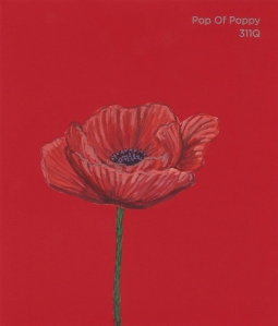 """""""Pop of Poppy,"""" acrylic on commercial paint chip, 3x3.5in, 2017"""