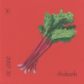 """""""Rhubarb II,"""" acrylic on commercial paint chip, 2 x 2in, 2017"""