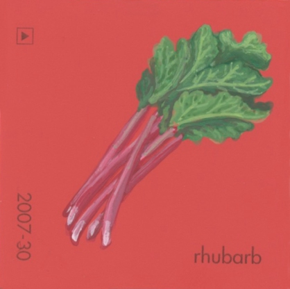 """""""Rhubarb,"""" acrylic on commercial paint chip, 2 x 2in, 2017"""
