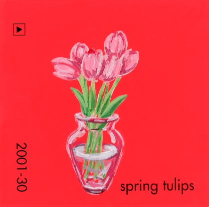 """""""Spring Tulips,"""" acrylic on commercial paint chip, 2x2in, 2017"""