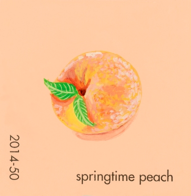 """""""Springtime Peach,"""" acrylic on commercial paint chip, 2x2in, 2017"""