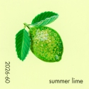 """Summer Lime,"" acrylic on commercial paint chip, 2x2in, 2017"