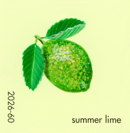 """""""Summer Lime,"""" acrylic on commercial paint chip, 2x2in, 2017"""
